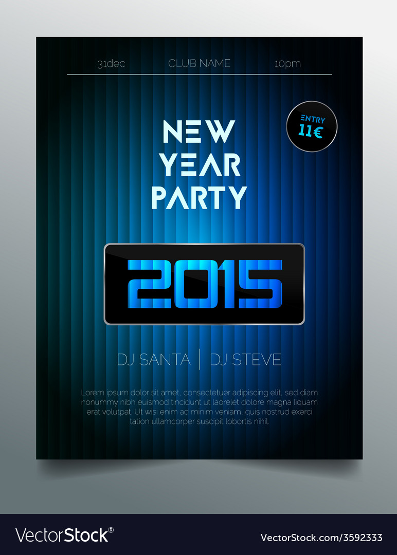 new year party flyer template dark blue design vector image