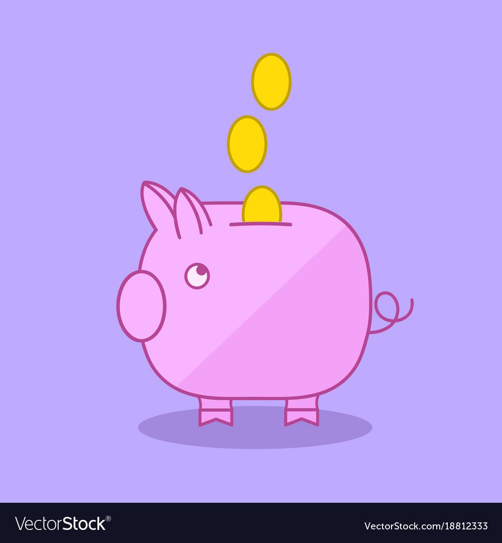 Piggy bank moneybox flat illu