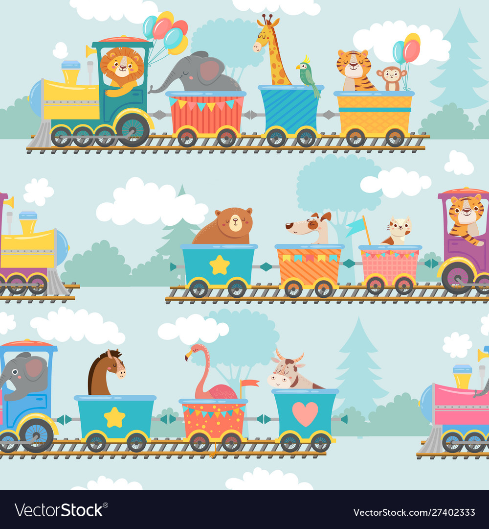 Seamless animals on train pattern happy animal in