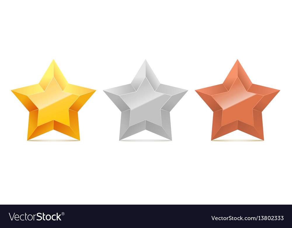 Set of 3d gold silver and bronze stars