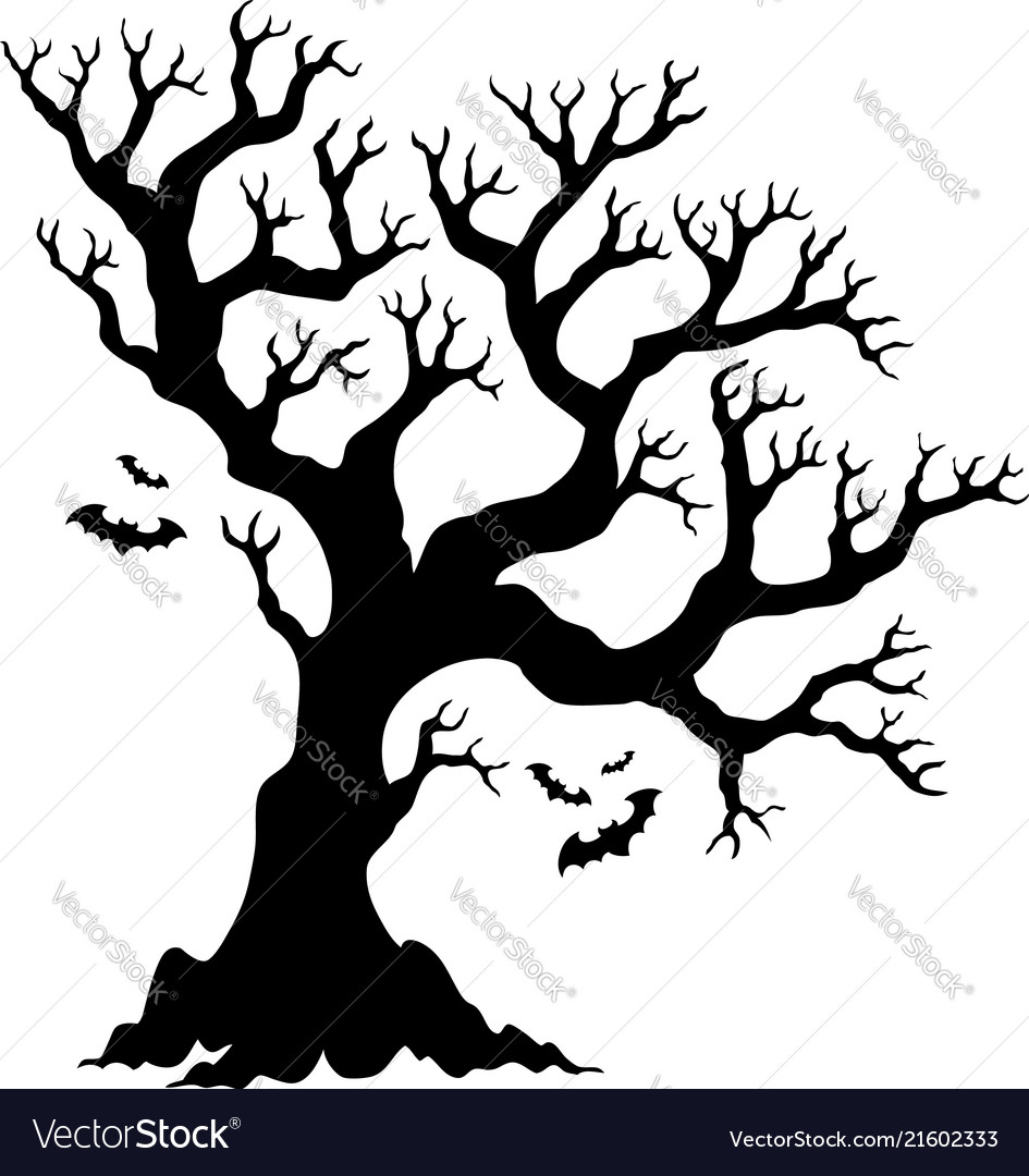 silhouette halloween tree with bats vector image