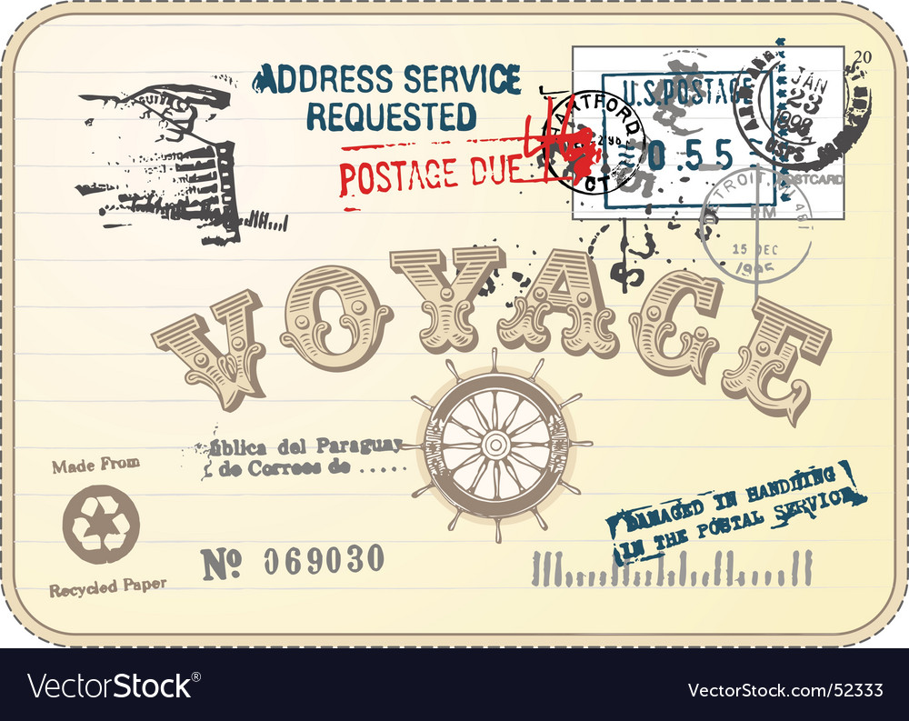Vintage postcard illustration vector image
