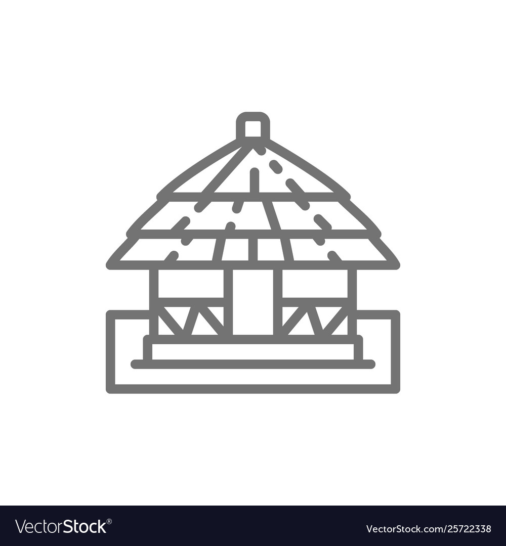 African local traditional house line icon