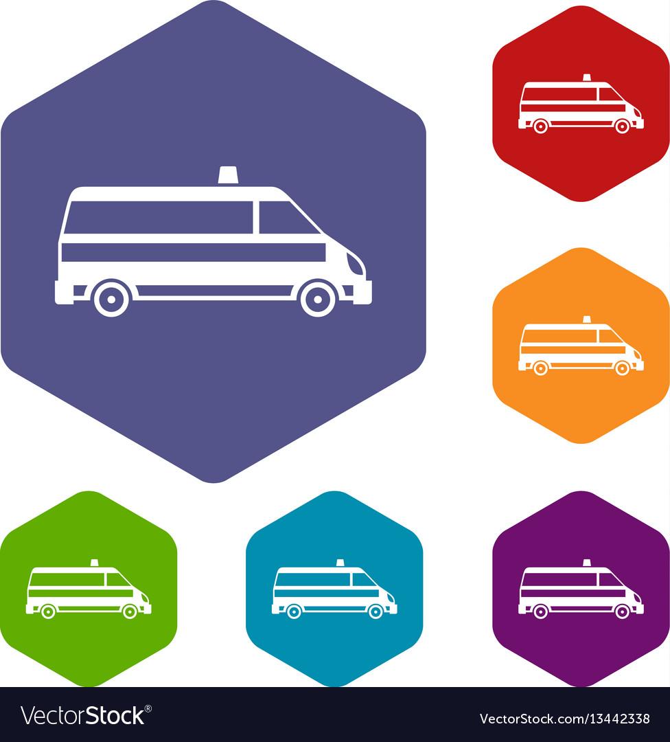 Ambulance car icons set
