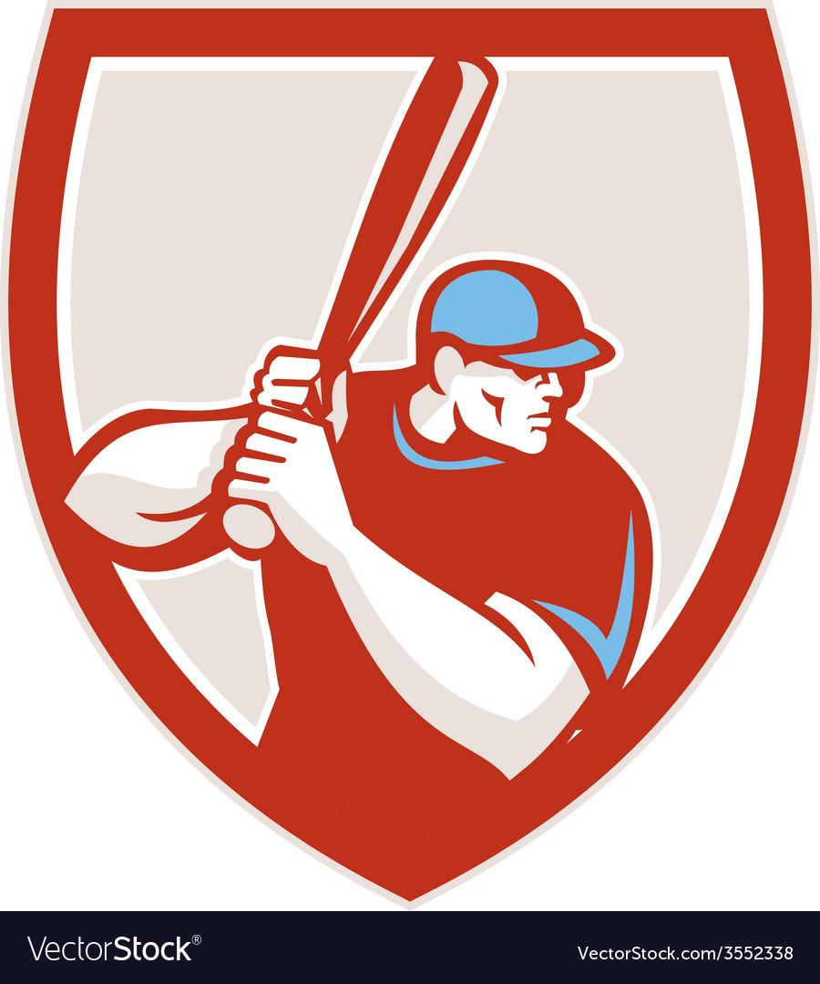 Baseball Player Batter Hitter Shield Retro vector image