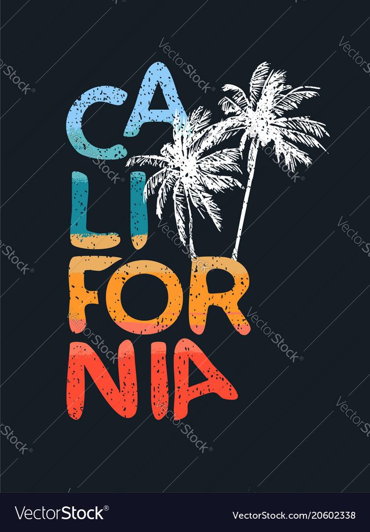 California beach tropical calligraphy text art