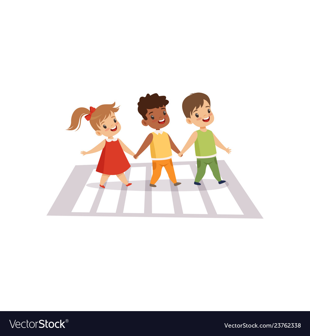 children using cross walk to cross street traffic vector image vectorstock