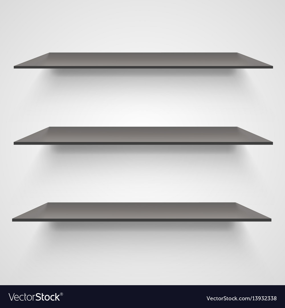 Empty shelves on light grey background