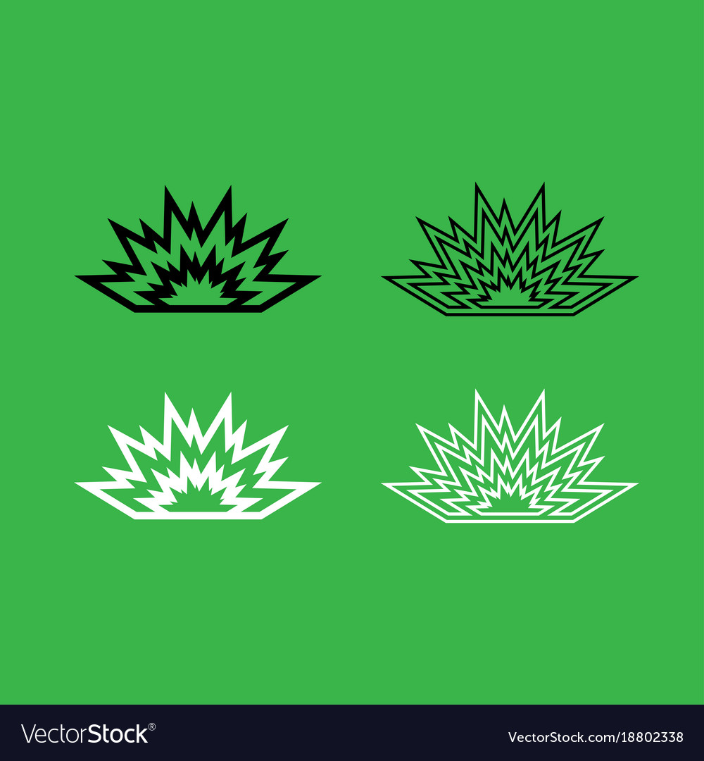 Explosion icon black and white color set vector image