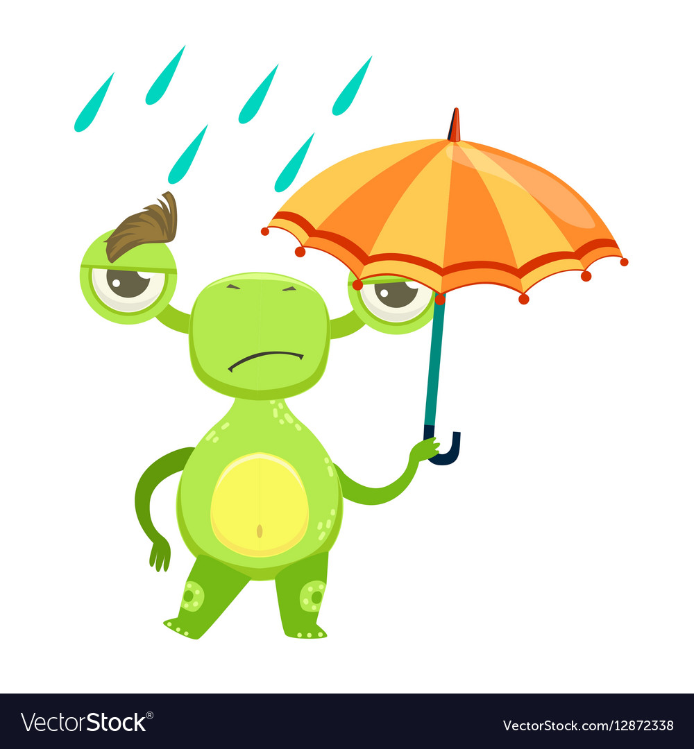 Funny Monster Sad Walking Under Rain With Umbrella vector image