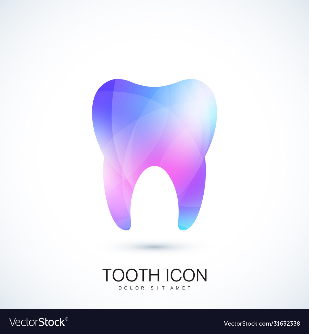 Healthy tooth in trendy vibrant gradient