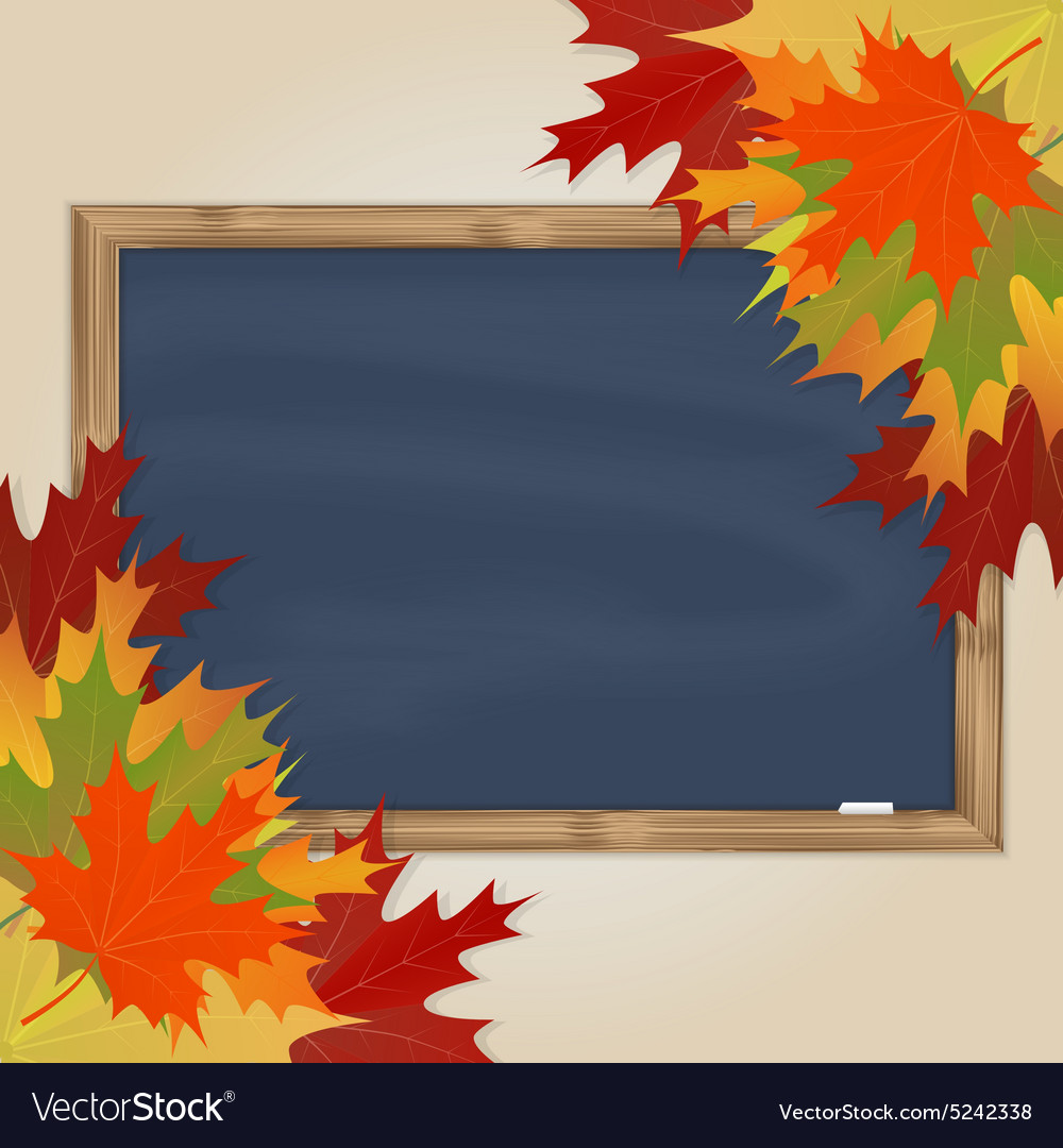 Maple leaves and grey chalkboard