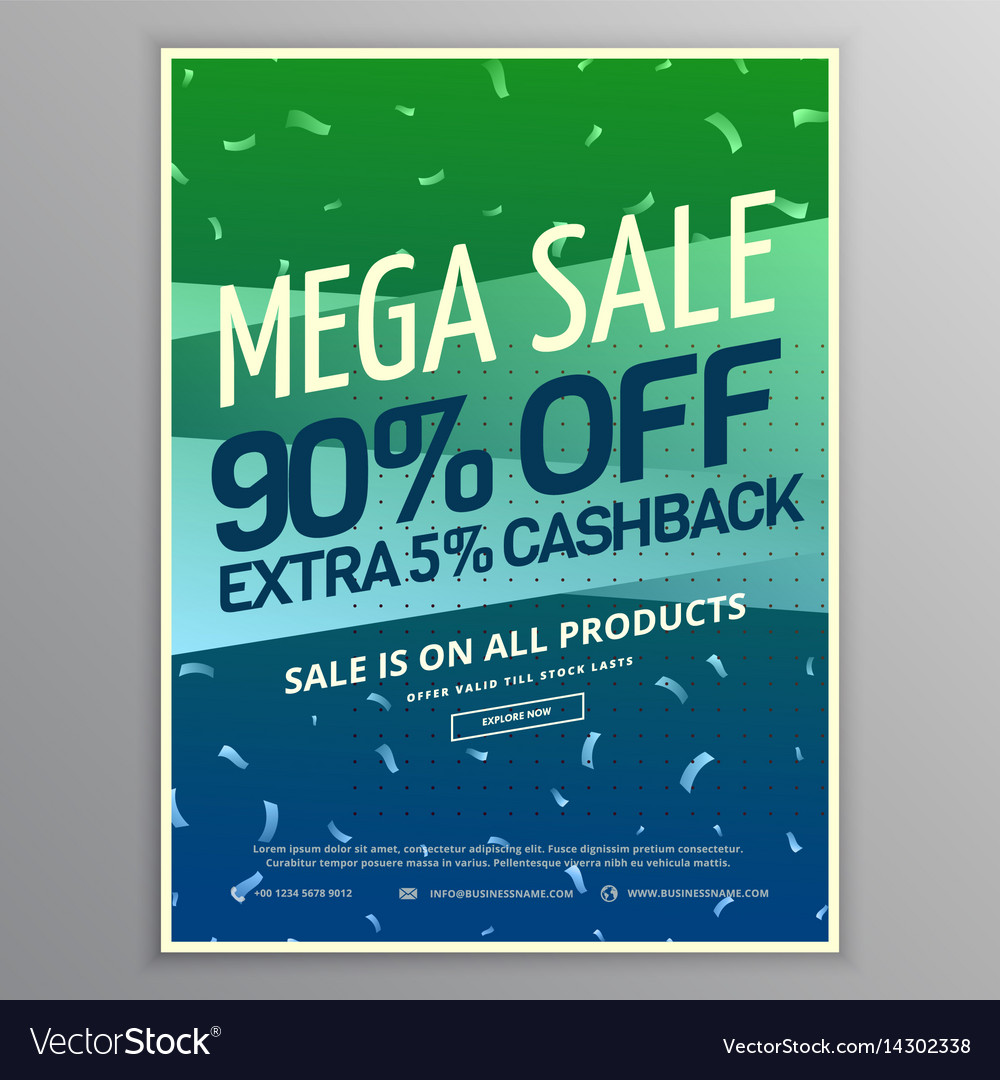 mega sale brochure template in green and blue vector image