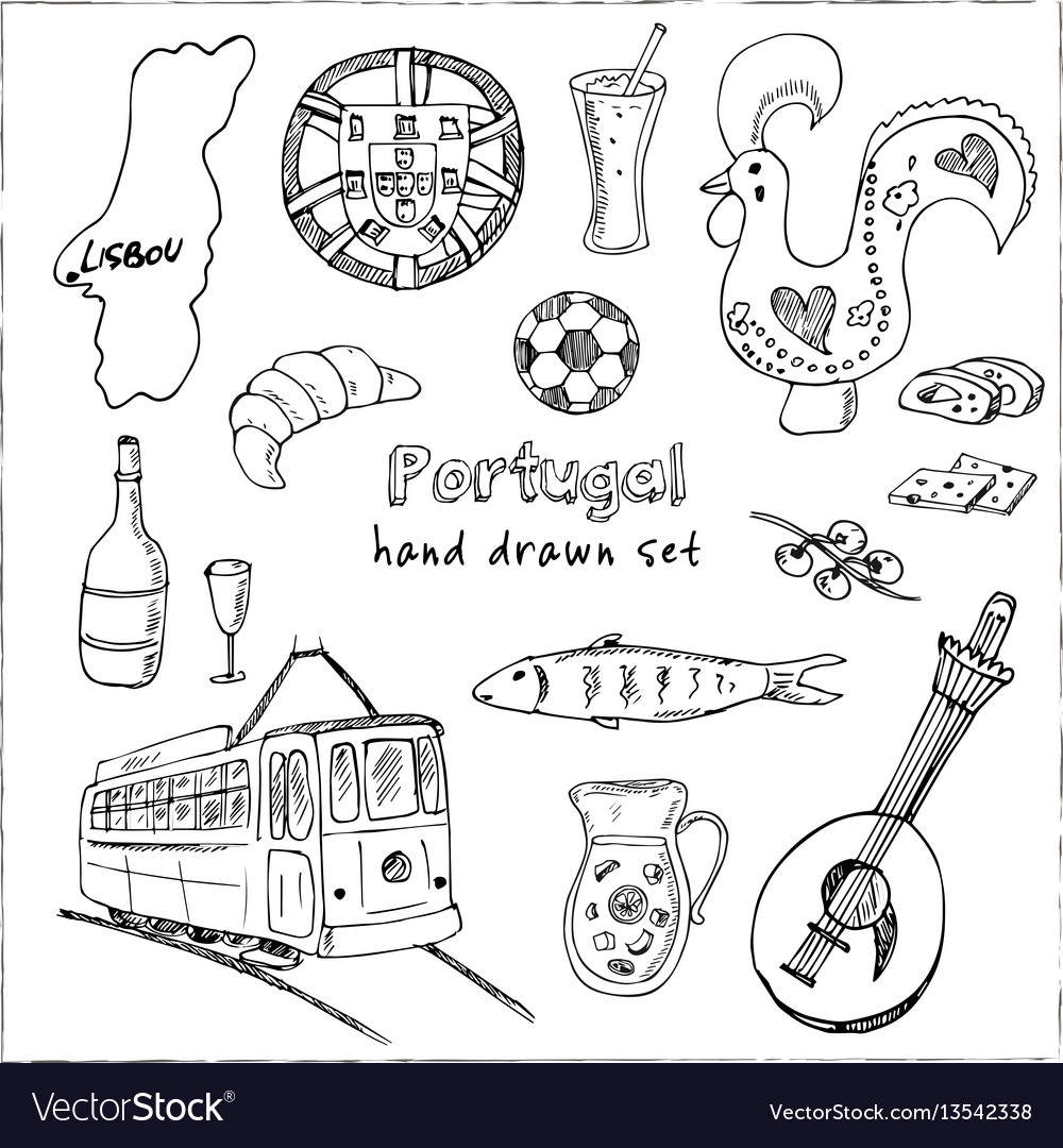 Portugal isolated elements and symbols hand drawn