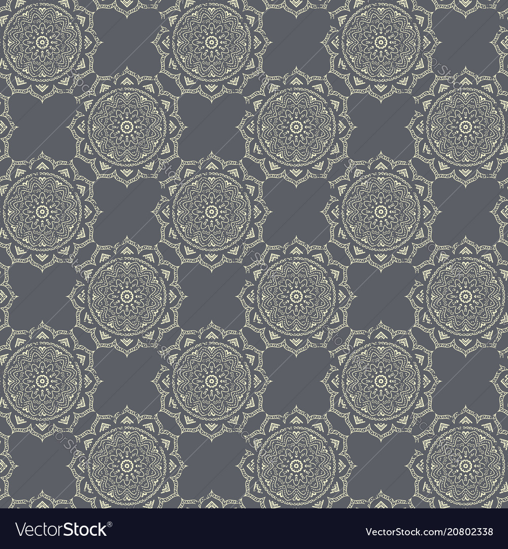 Seamless hand drawn mandala pattern vintage