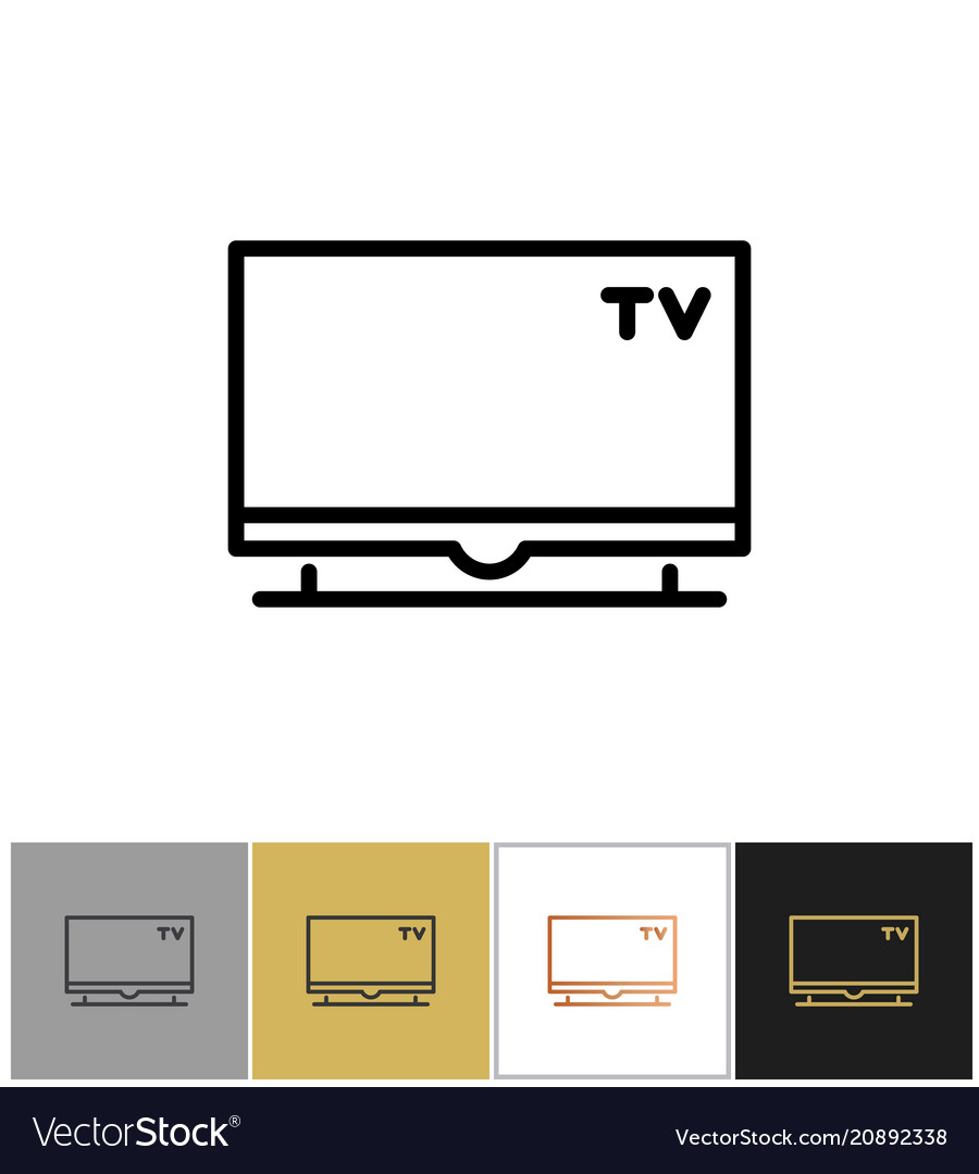 Tv icon flat screen television symbol vector