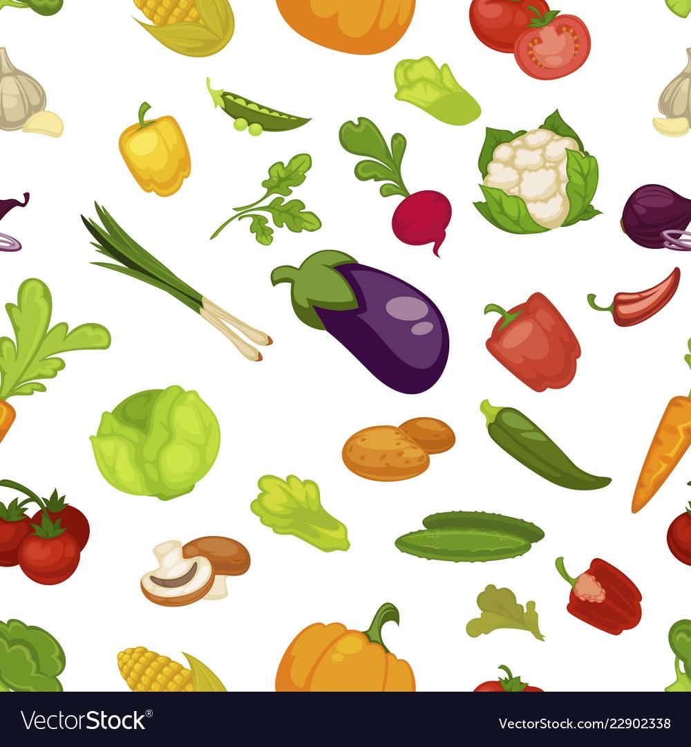 Vegetables aubergine and pumpkin set seamless