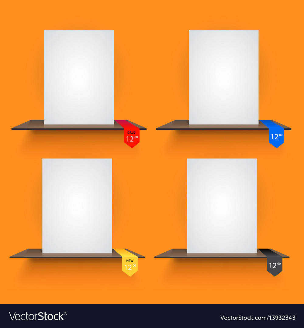 Book shelves with lables on orange background