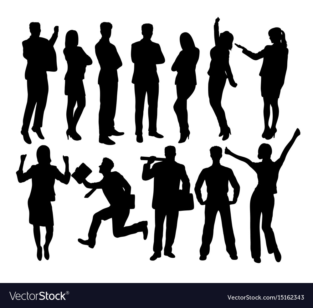 Creative business people standing silhouettes vector image