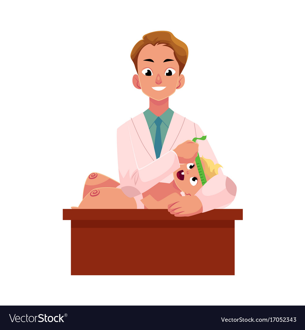 Doctor pediatrician measuring baby infant head vector image