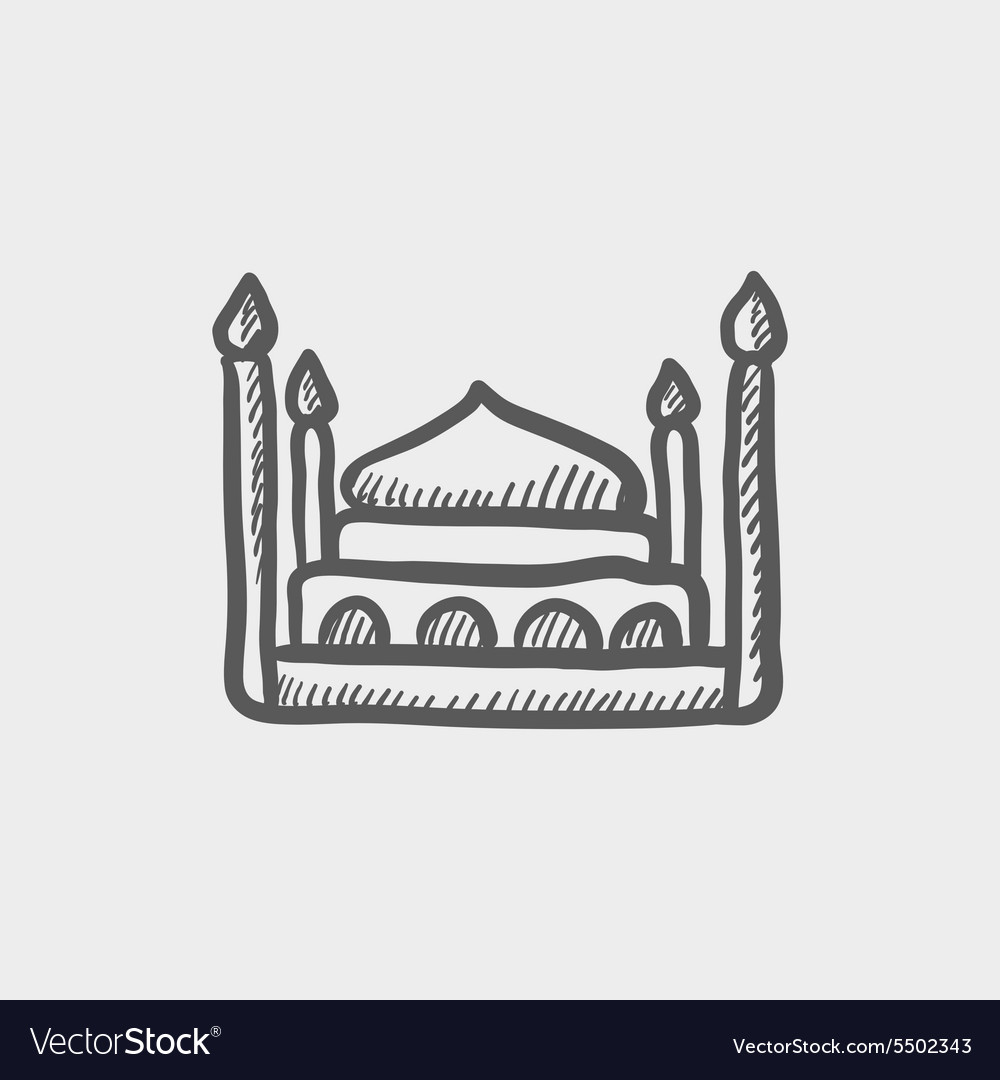 First class room hotel bed sketch icon vector image