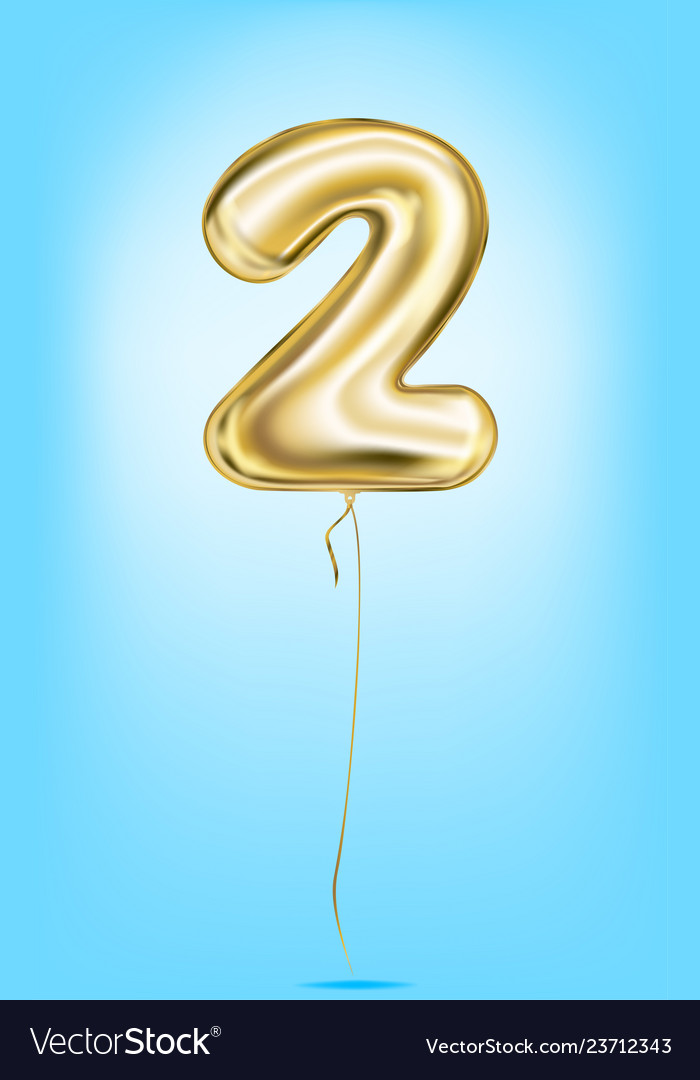 High quality image gold balloons digit 2 two