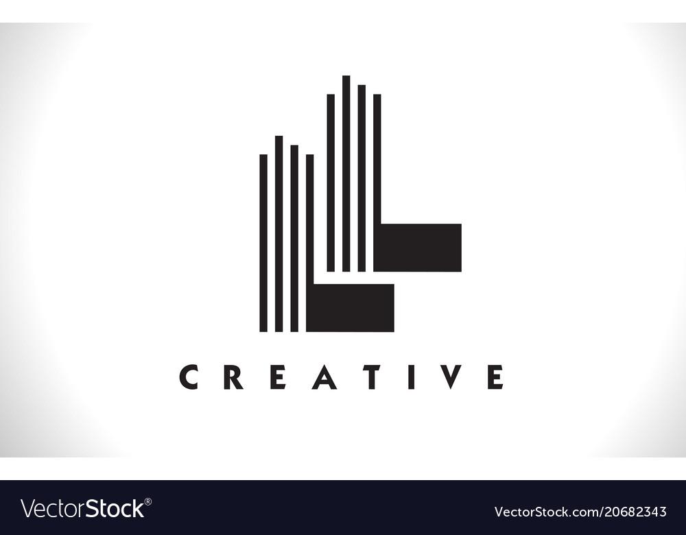 Ll logo letter with black lines design line letter