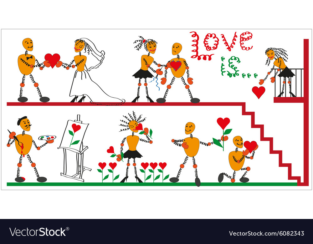 Men in the spring and the heart vector image