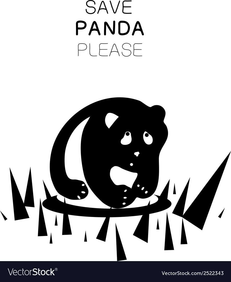 Panda silhouette and slogan vector image