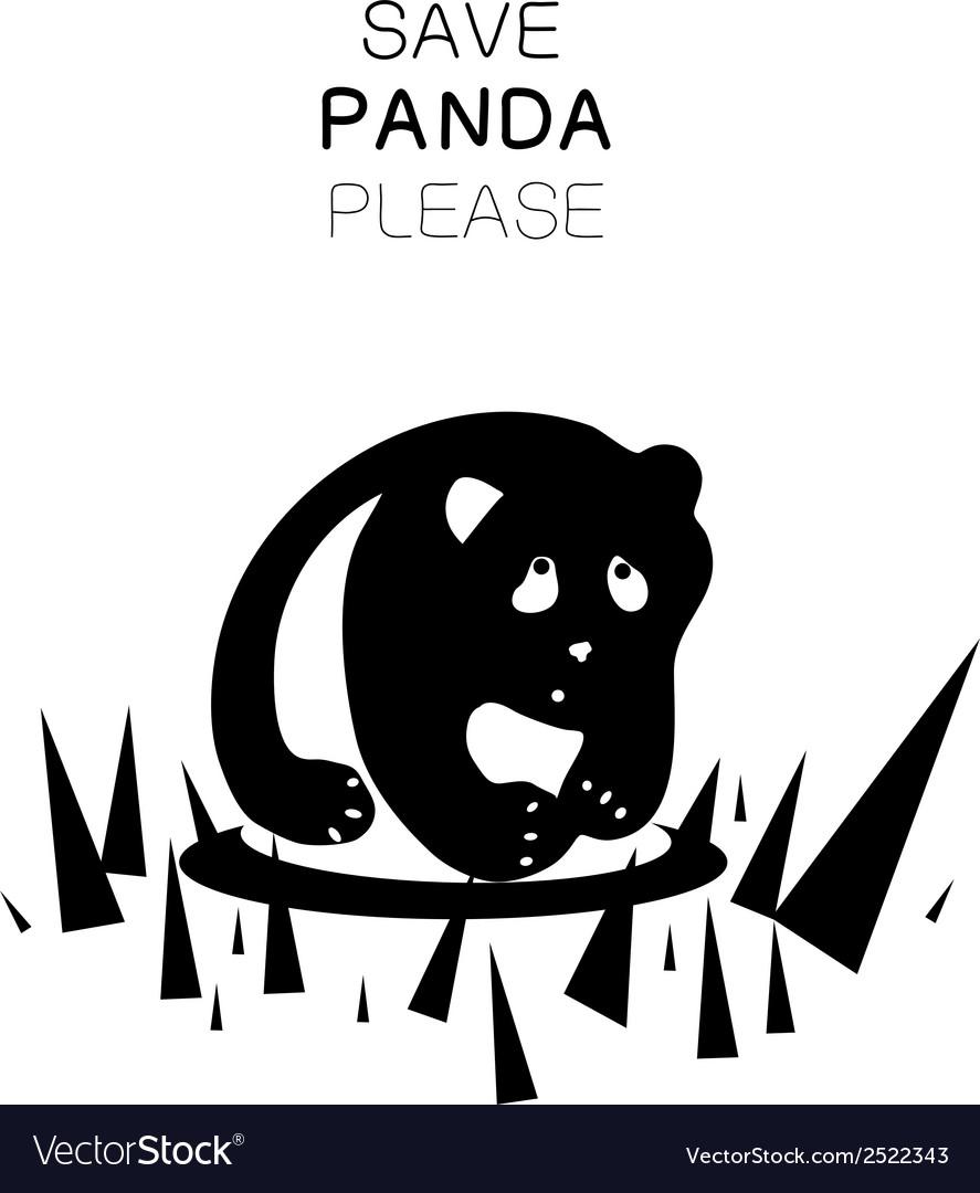 Panda silhouette and slogan