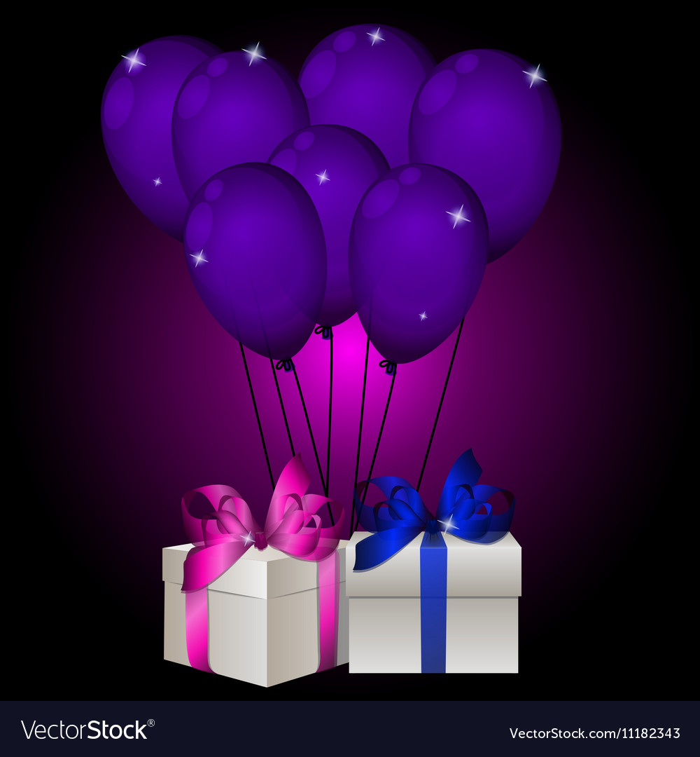 Realisic gift box with balloons