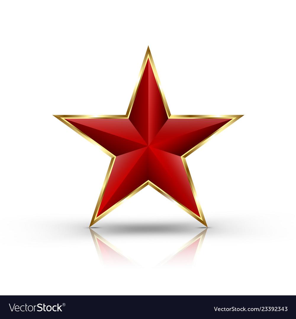 Red star on golden frame