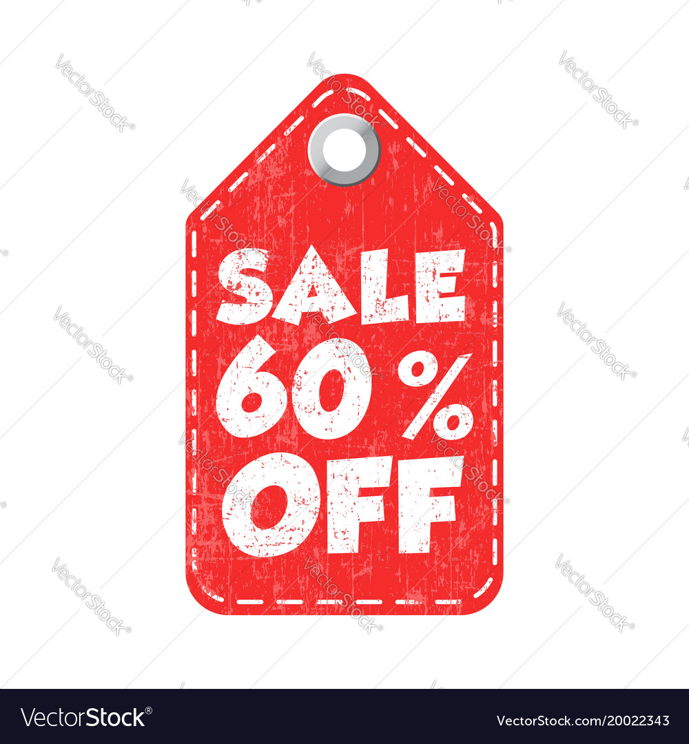 9a602deda Sale 60 off tag label on white background Vector Image