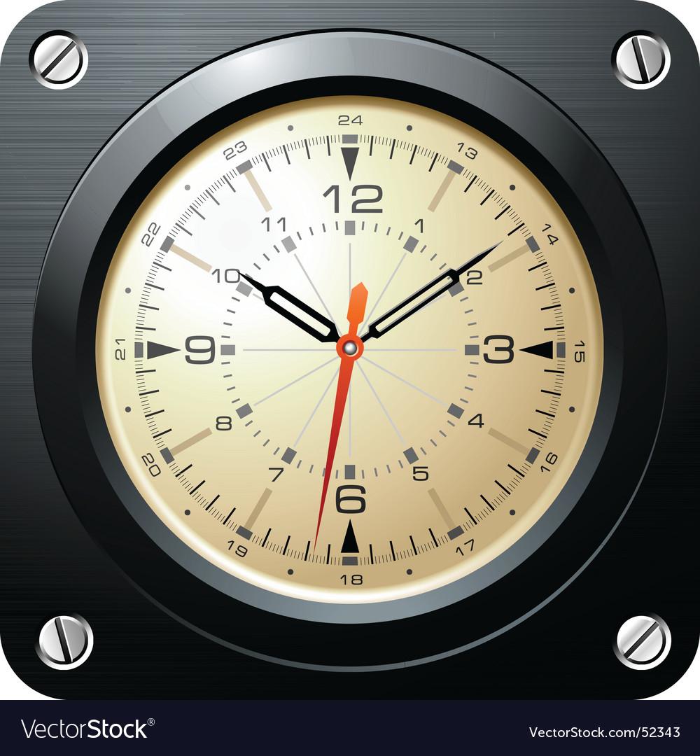 Vintage military airplane clock vector image