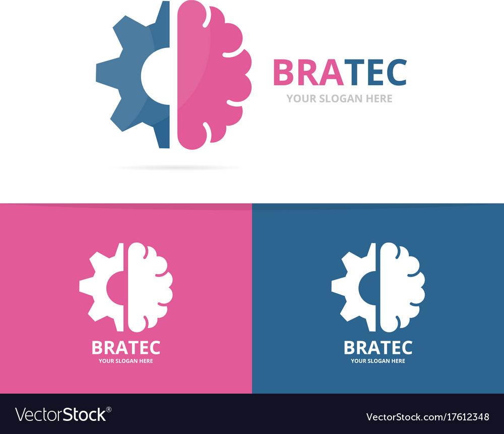 Brain and gear logo combination education