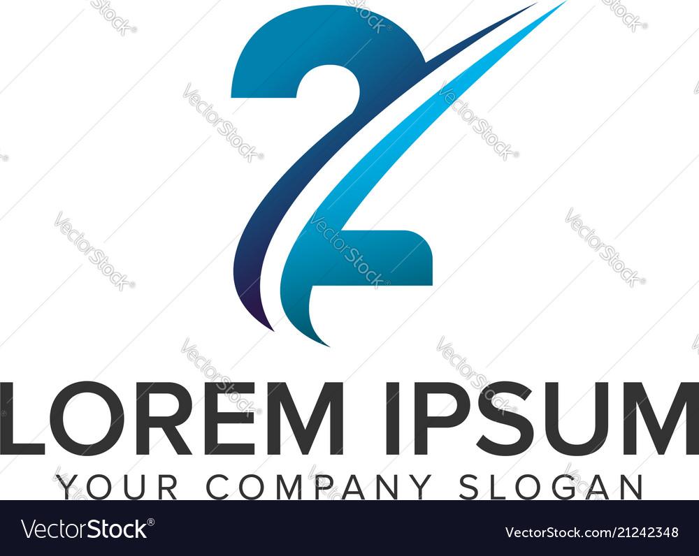 Cative modern number 2 logo design concept