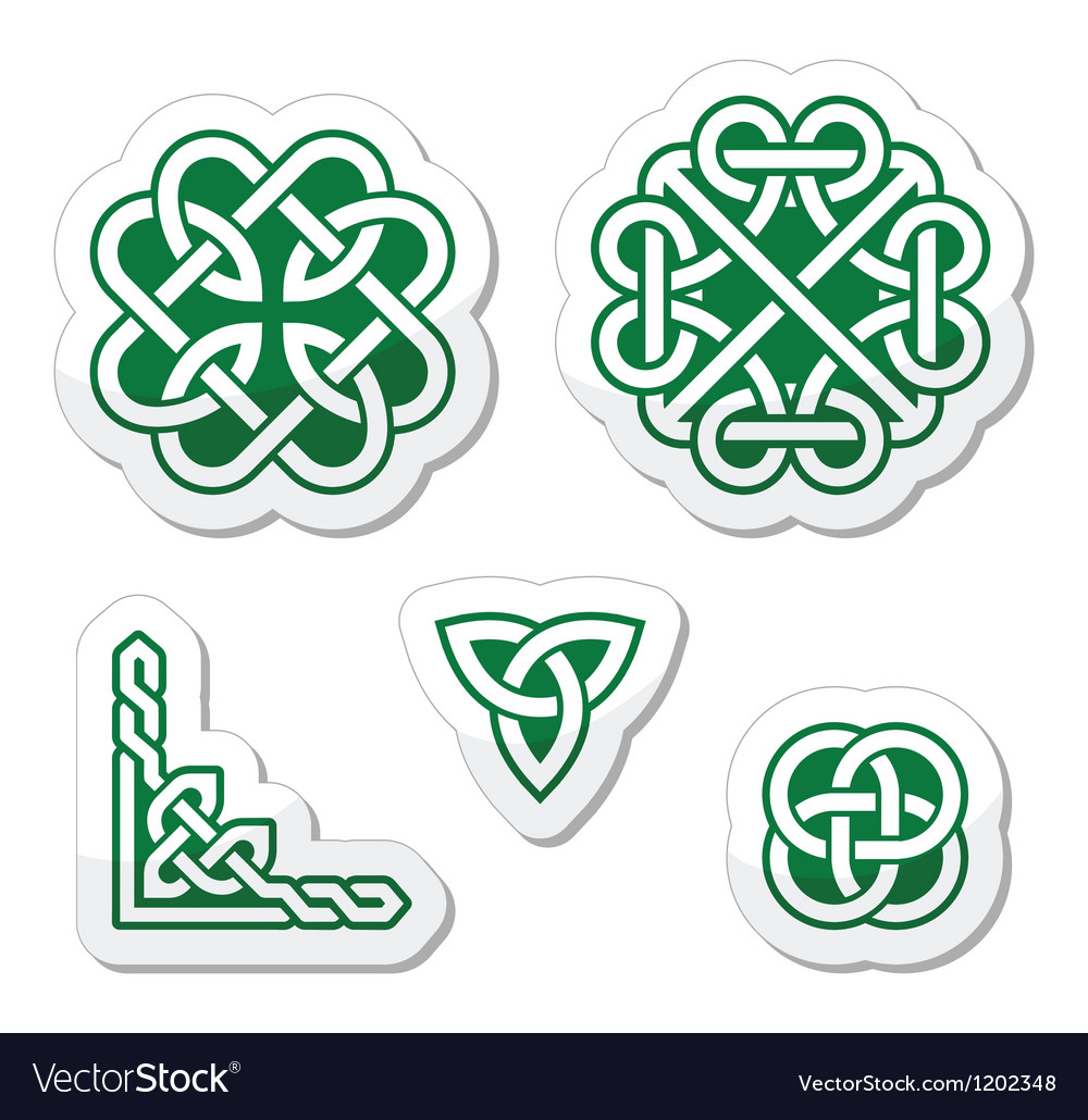 Celtic green knots patterns vector image