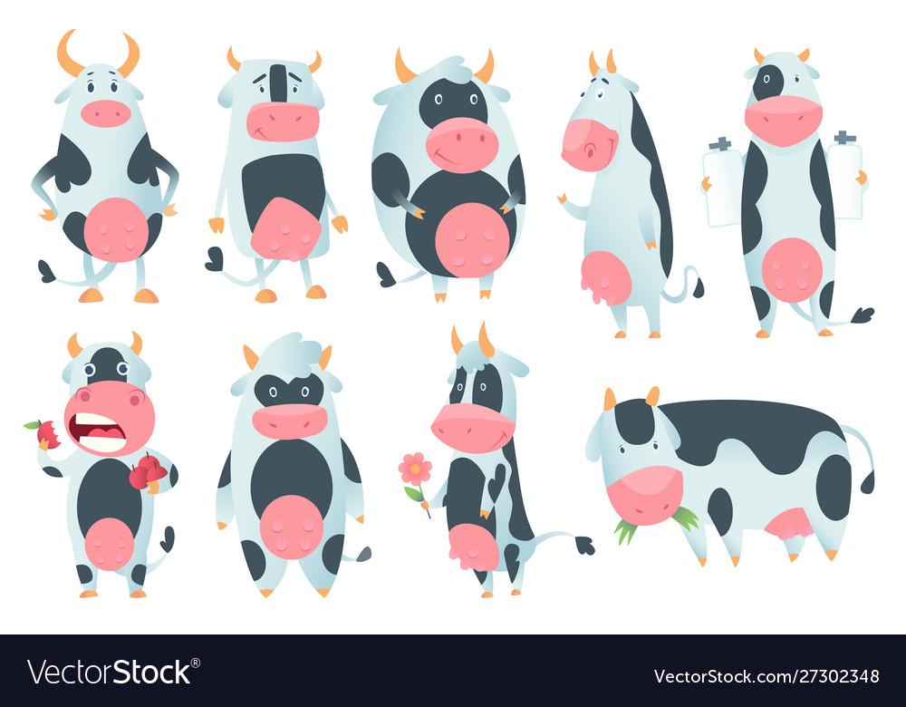 Cow cartoon cute farm milk animal character in