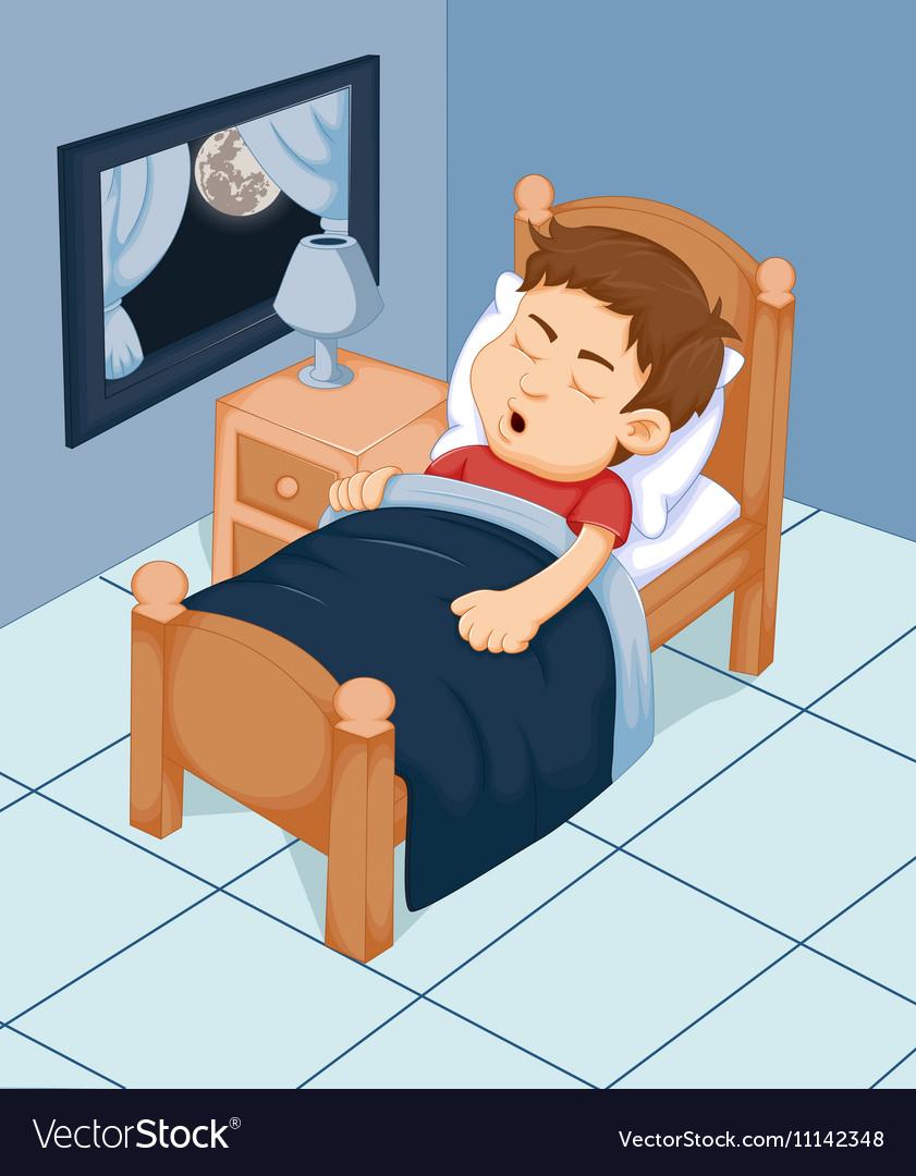 Cute boy cartoon sleeping in the bedroom vector image