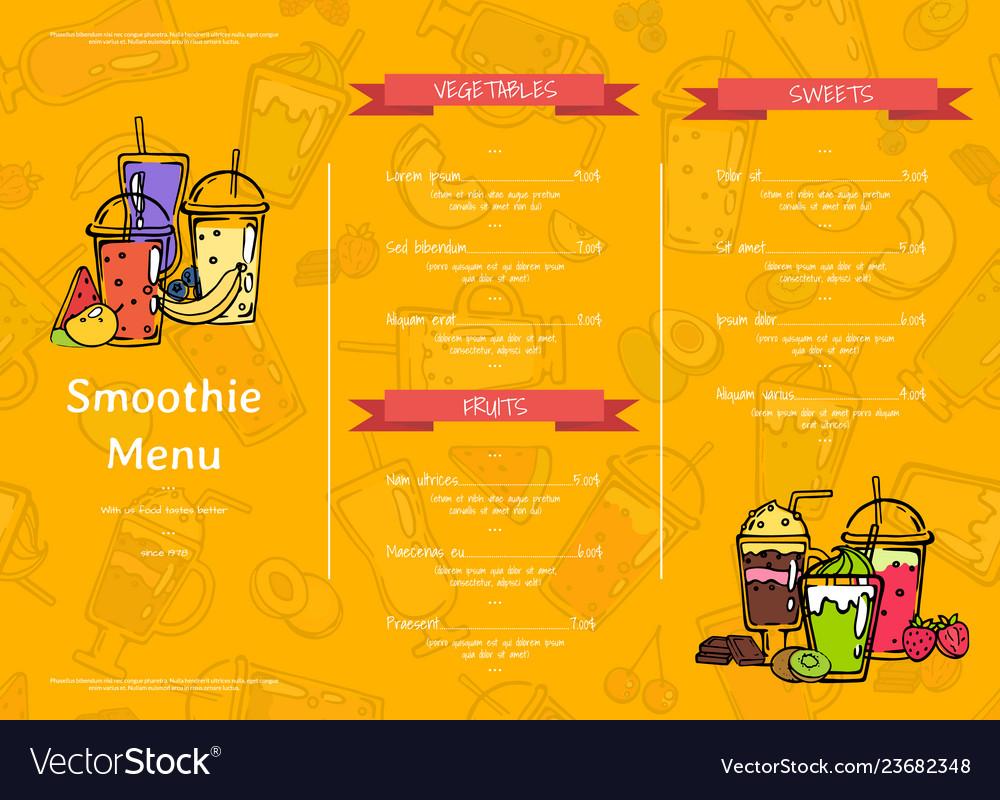 Doodle smoothie cafe or restaurant menu