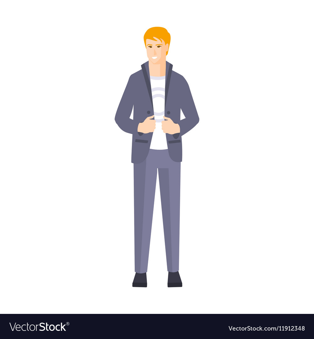 Guy In Suit With White T-shirt Part Of The vector image