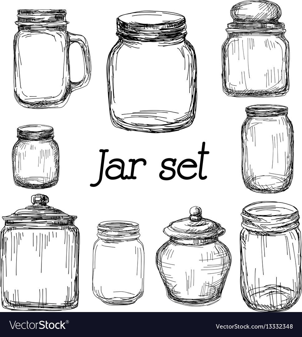 Hand drawn jar set vector image