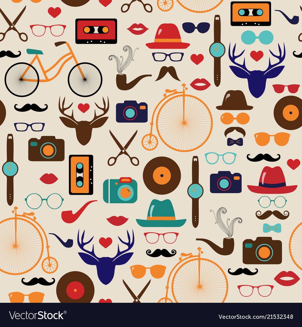 Hipster colorful retro vintage seamless pattern