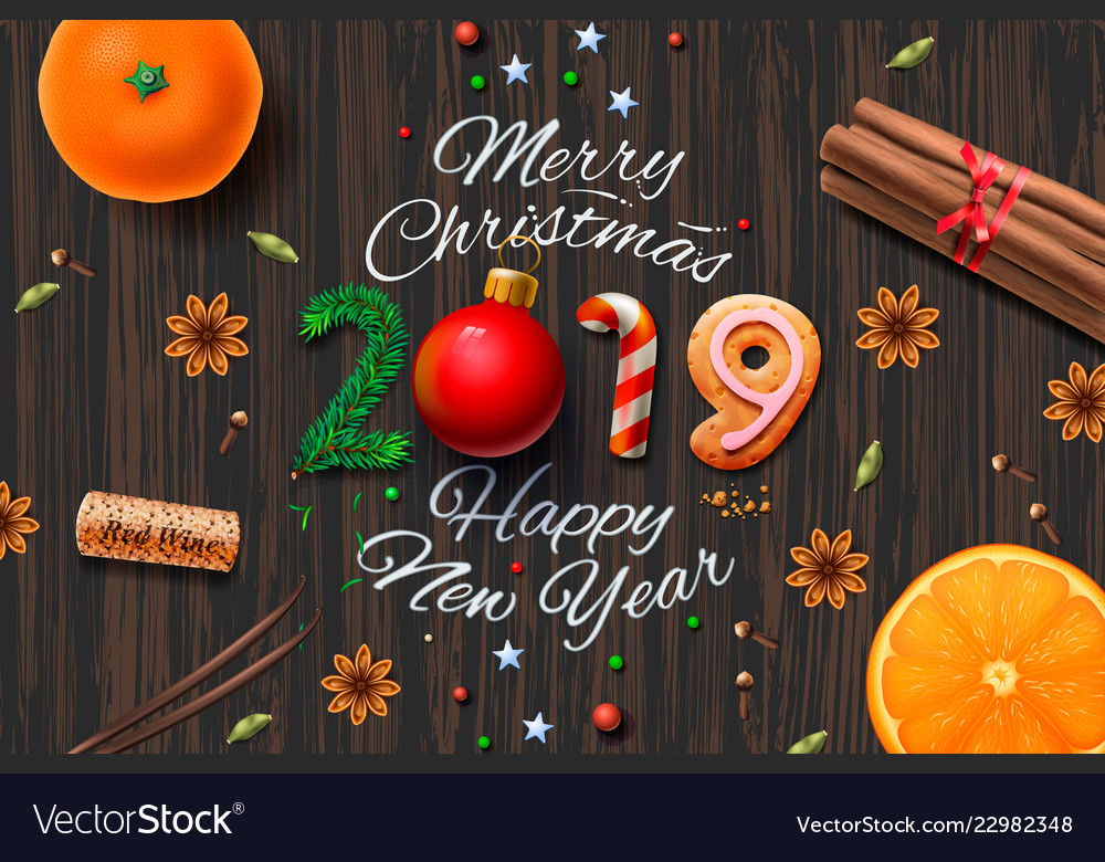 Merry christmas happy new year 2019 vintage