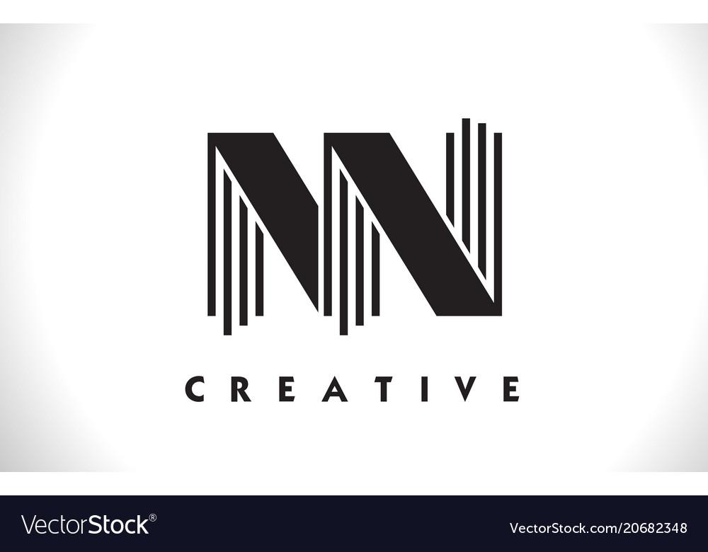 Nn logo letter with black lines design line letter