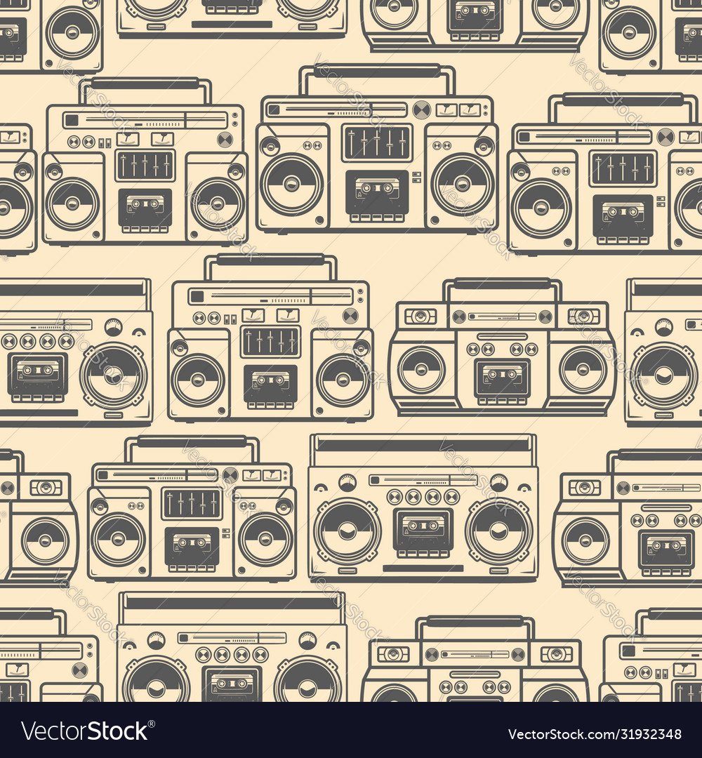 Seamless pattern with boomboxes design element