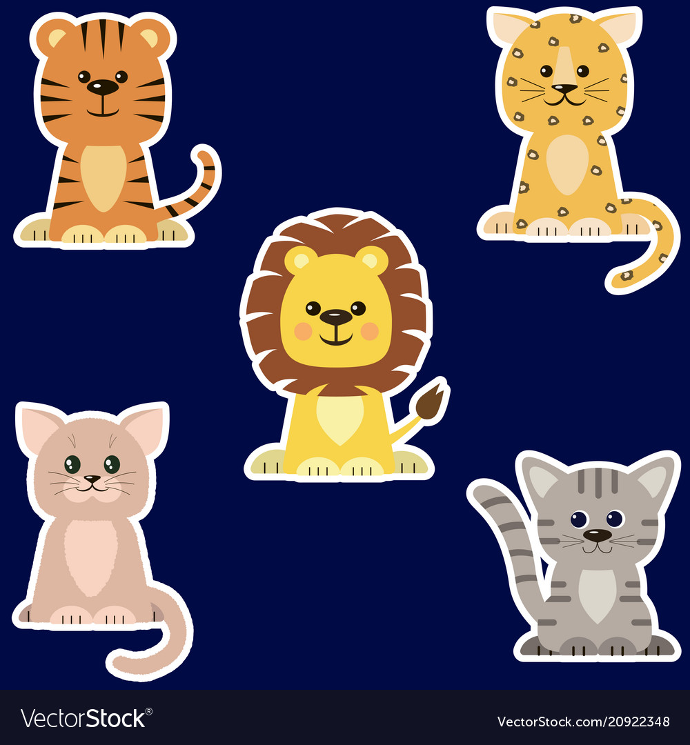 Set of different kinds of cats stickers