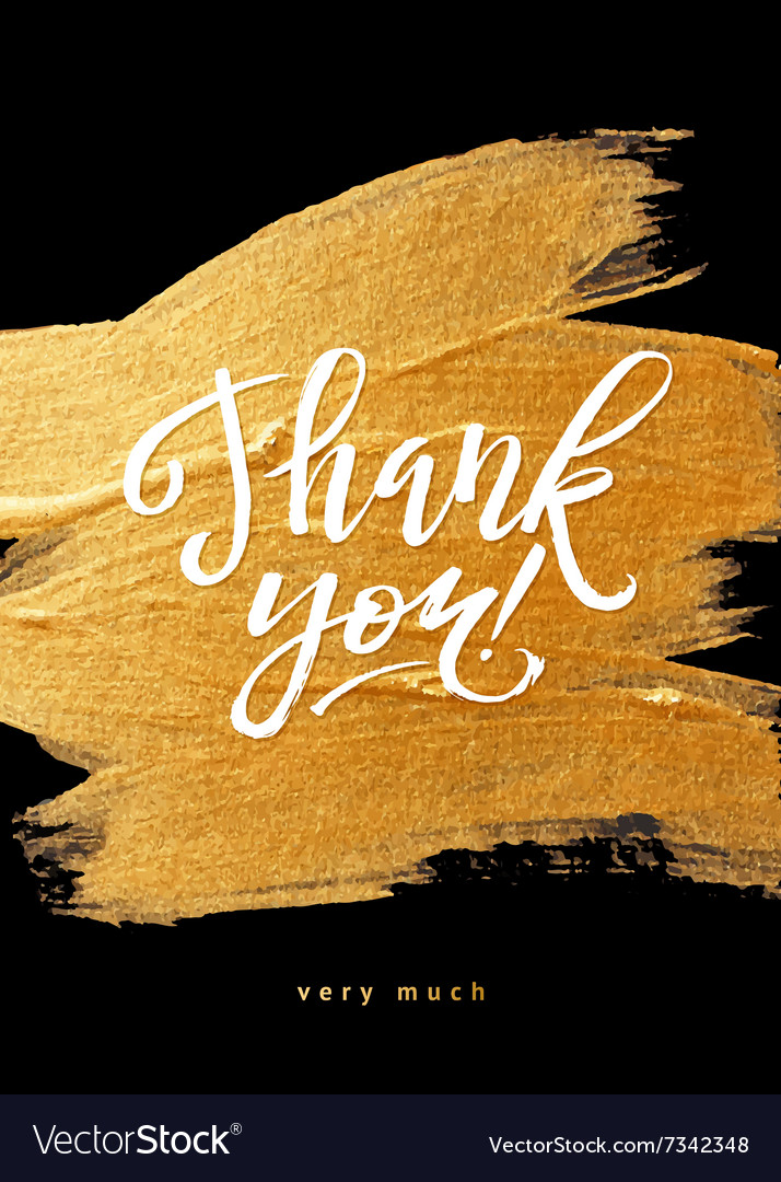 e3a7b923eb89e Shine Gold Foil Thank You Card Calligraphy