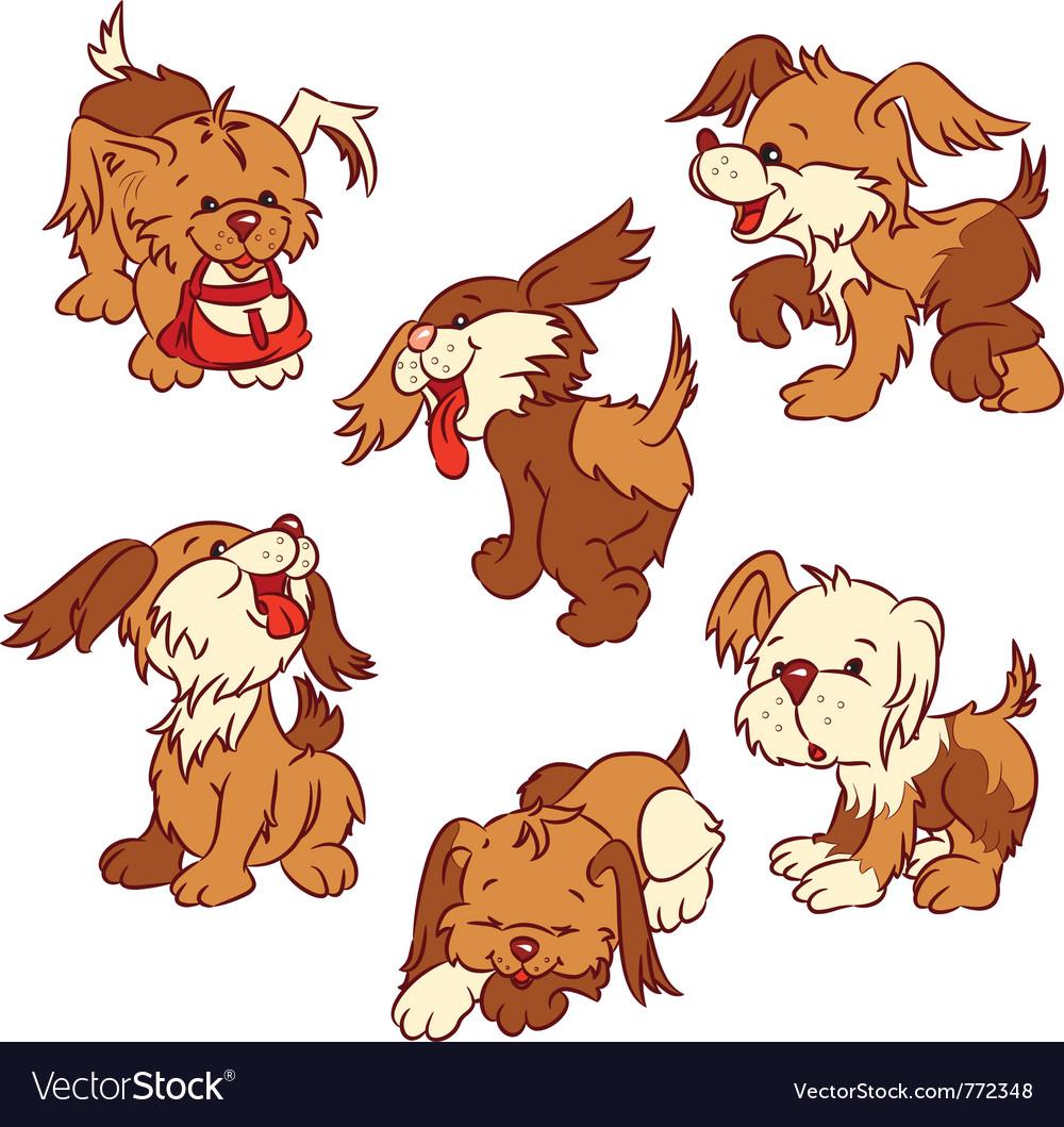 Six cartoon puppies vector image