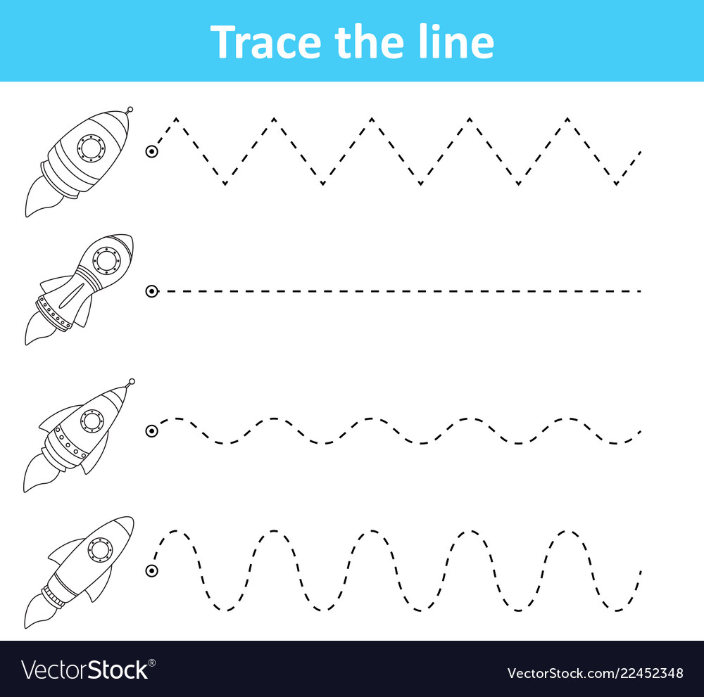 Trace line worksheet for preschool kids with rocke